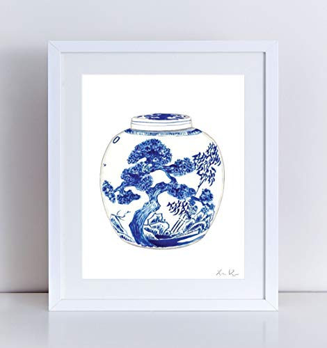 Blue and White Ginger Jar Vase 9 Giclee Art Print Watercolor Painting Wall Home Decor Chinoiserie Chinese China Asian Landscape Cute Preppy Pretty Southern Style - Jar Delft Ginger