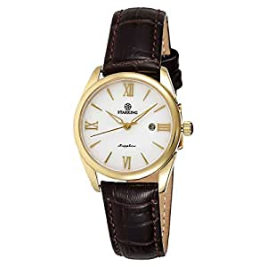 Starking Men's White Dial Leather Band Watch - BL0856GL91