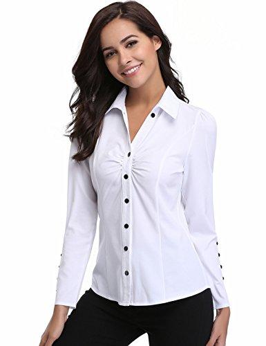 Women's Point Collar V Nect Long Sleeve T-Shirt Blouse Tops (14 Large, White # 2)