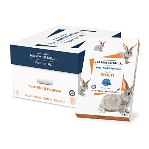 Hammermill Paper, Fore Multipurpose Paper, 8.5 x 14 Paper, Legal Size, 20lb Paper, 96 Bright, 10 Reams / 5,000 Sheets (101279C) Acid Free Paper (Bright White Proofing Paper)