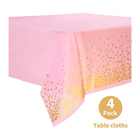 "Duocute Pink Disposable Party Tablecloth for Rectangle Table, Gold Stamping Dot Confetti Rectangular Plastic Table Cover, for Bachelorette, Girl Birthday and Baby Shower, 54"" x 108"", Pack of 4 - PINK GOLD FOIL DOT DESIGN: This pink and gold dot tablecloth is designed to pink background and golden foil polka dot pattern. The tablecloth is all enhanced with attractive golden foil dot. Adding an elegant, modern touch to any party. Perfect choice for a pink and golden themed party. PERFECT MATCH: This Party Tablecloth 54"" x 108"" (273cm x 137cm) covers any table up to 8 ft. It can match any occasion with DUOCUTE party paper cups napkins sets. What's more, premium quality plastic tablecloth, waterproof, resistant to tear, heavy duty. ENJOY PARTY AND SAVE TIME: You will be able to throw a pink golden themed party that impress your guests the entire night. When the party is over, you can spend more time with family or friends and less time cleaning up. That's why we designed this disposable pink gold party tablecloths. - tablecloths, kitchen-dining-room-table-linens, kitchen-dining-room - 41EtZr9DWPL. SS570  -"