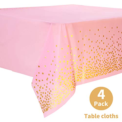 Pink Disposable Tablecloths (Duocute Pink Disposable Party Tablecloth for Rectangle Table, Gold Stamping Dot Confetti Rectangular Plastic Table Cover, for Bachelorette, Girl Birthday and Baby Shower, 54