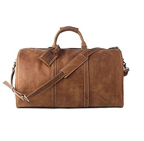 Leather Travel Luggage Bag, LeatherFocus Mens Duffle Retro Carry on Handbag (Light Brown) by Leatherfocus