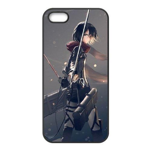 Attack On Titan coque iPhone 5 5S Housse téléphone Noir de couverture de cas coque EBDOBCKCO14087