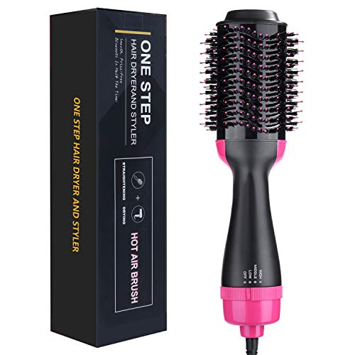Hot Air Brush, One Step Hair Dryer & Volumizer, Ceramic Electric Blow Dryer, 3 in1 Styling Brush Styler, Negative Ion Hair Straightener Curler Brush for All Hairstyle