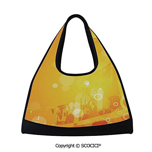 Table tennis bag,Abstract Composition with Circles Dots Artistic Energetic Colors Sunburst Decorative,Sports and Fitness Essentials(18.5x6.7x20 in) Orange Yellow White ()