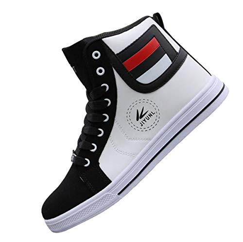 - tazimall Mens Round Toe High Top Sneakers Casual Lace Up Skateboard Shoes Newest Style(3 Colors) (11, Black)