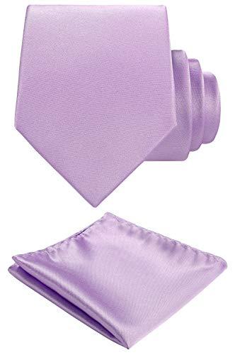 Solid color Neck tie.Pocket Square,Gift Box set. (Lavender)