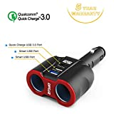 QC3.0 Smart Car Charger, 2 Socket + 3 USB (2xSmart USB Port & 1xQC3.0 USB Port) Multifunction Car Socket Splitter Adapter Built-in 10A Fuse for Smart Phones, Tablets, GPS, MP3 Players