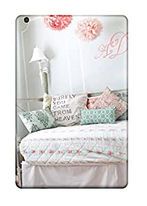 Ipad Mini/mini 2 Hard Back With Bumper Silicone Gel Tpu Case Cover Girls Pink And Blue Cottage Bedroom With Monogram On Wall