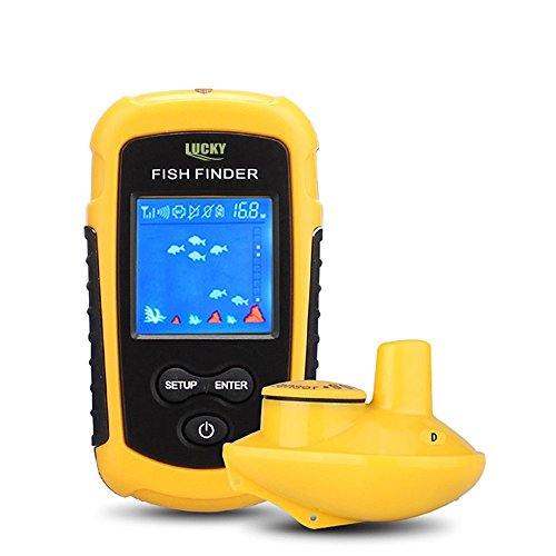 Fishfinder 140 Gps - Fish finder - Portable High Performance 147 ft - 45M Depth Fishfinder and 328 ft - 100M Range Colorized LCD Display Monitor with Wireless Sonar Sensor for Depth/Water Temperature / Fish Size / Locatio