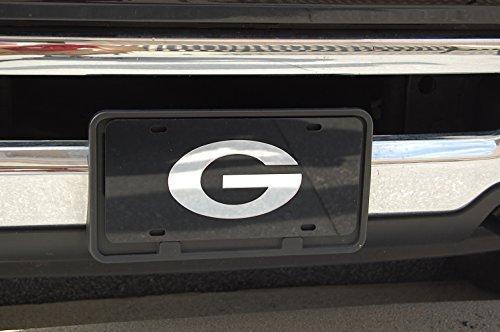 Georgia Bulldogs Mirror Laser License Plate Tag Black background, Silver - G logo