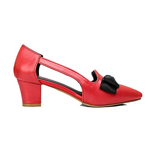 AmoonyFashion Womens Pull-On PU Closed-Toe Kitten-Heels Solid Pumps-Shoes Red bsPDPH
