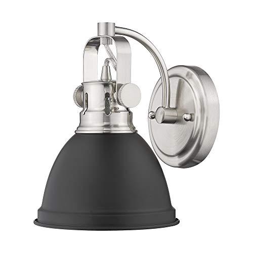 (Emliviar 1-Light Bathroom Vanity Wall Mount Light Fixture, Hallway Wall Lamp in Black Finish with Metal Shade, 4053H)