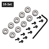 """Yakamoz 10Pcs Router Bits Top Mounted Ball Bearings Guide for Router Bit Bearing Repairing Replacement Accessory Kit 