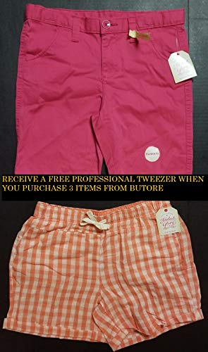 Girls Pull On Shorts *2 PACK* PINK BERMUDA PEACH GINGHAM LARGE 10/12+FREE PROFESSIONAL TWEEZER