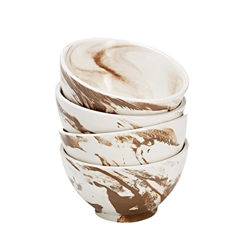 overandback 815630 Marble Finish Bowls, Set of 4, Caramel (Caramel Medium Finish)