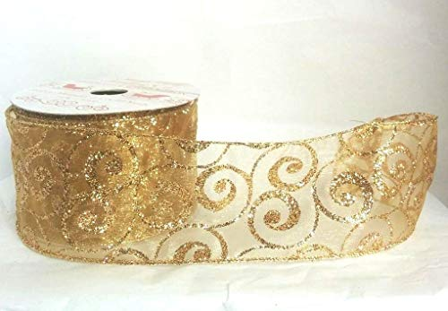 Gold Glitter Swirl Sheer Wired Ribbon- 2.5 in. x 10 Yards