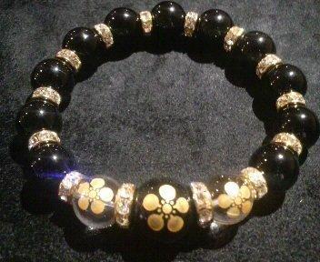花の慶次 家紋 水晶&ブラックオニキス 数珠ブレスレット (21 センチメートル) B00BBASLA4 21 センチメートル