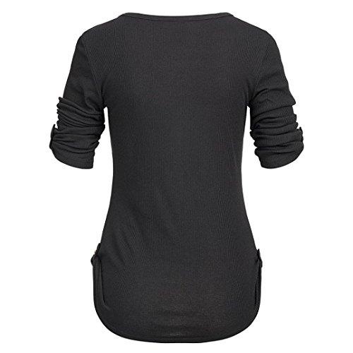 casual Accostare Pulsante Tasche Maglietta Manica Eleganti T Camicetta Lunga Signore Ningsun Solido Camicia Nero Top Donna Le Con Da moda Donne O neck shirt PqzwZzB1