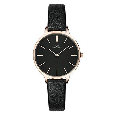 Ibso Women Fashion Simple Watch Ultra Thin Retro Quartz Analog Leather Strap Ladies Wristwatch  Black