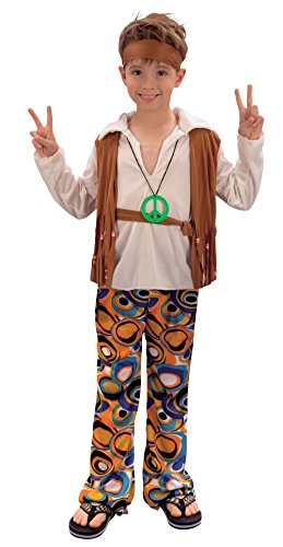 Bristol Novelty CC621 Hippy Boy Costume, Medium, Approx Age 5 - 7 Years, Hippy Boy (M)