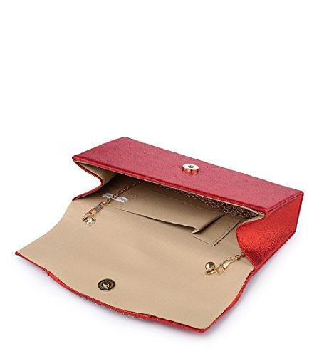 Diamante ME68041 Bag Party Evening Clutch Women's Silver Glitter Handbag Envelope Ladies XAqgw