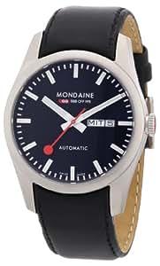 Mondaine A135.30345.14SBB - Reloj de caballero de cuarzo, correa de piel color negro