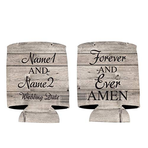 VictoryStore Can and Beverage Coolers: Custom Rustic Forever And Ever Amen Wedding Can Coolers - Religious Wedding Can Cooler (100) (Wedding Koozies To Have And To Hold)