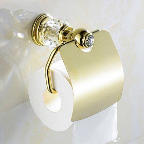 WINCASE All Brass Construction Bathroom Accessory Set 2pcs Polished Gold Towel Holder Paper Holder with Cover Wall Mounted Luxury European Style by WINCASE (Image #1)