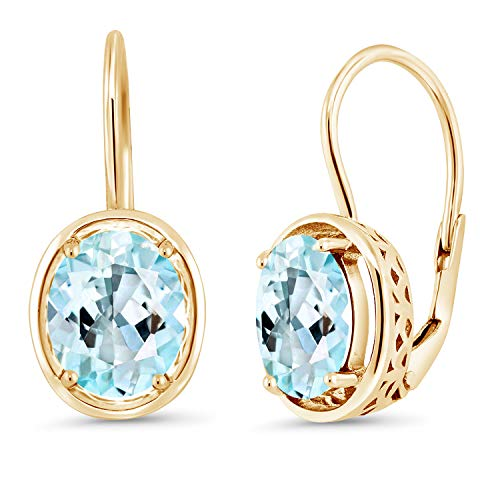 Gem Stone King 4.00 Ct Oval Sky Blue Topaz 18K Yellow Gold Plated Silver Earrings
