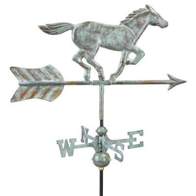 21'' Handcrafted Blue Verde Copper Galloping Horse Outdoor Weathervane with Garden Pole