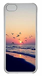 LJF phone case Beach Sunset Shore Birds Protective Hard Plastic Back Fits Cover Case for iphone 5C Transparent-1122017