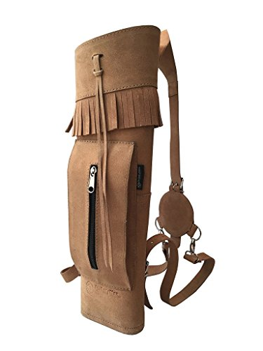 ArcheryMax Traditional High-grade Handmade Back Side Suede Tanned Arrow Quiver for Hunting (19 Inches)