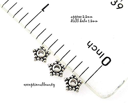 Pendant Jewelry Making 200 Tibetan Antiqued Silver 5.5mm Beaded Star Spacer Metal Accent Beads