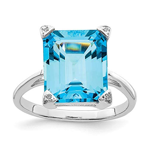925 Sterling Silver Swiss Blue Topaz Diamond Band Ring Size 6.00 Stone Gemstone Fine Jewelry Gifts For Women For Her
