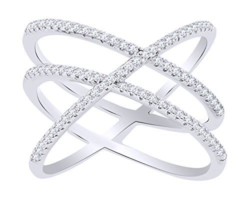 Round Cut White Cubic Zirconia Crisscross Ring In 14k White Gold Over Sterling Silver Ring Size-7 (Cross 14k Wg)
