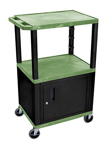 H WILSON WT42GC2E-B 3-Shelf AV Cart with Cabinet, Tuffy, 42