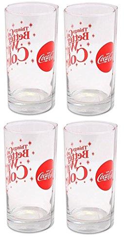 (Libbey Coca Cola Sparkle Cooler Glass Tumbler-16oz Set of 4)