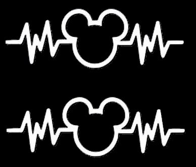 Mickey Mouse Heartbeat 2 Pack White Decal Vinyl Sticker|Cars Trucks Vans Walls Laptop| White |5.5 x 2 in|LLI630