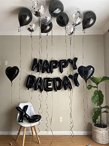 "Happy BAEDAY Black Balloon Kit | Valentines Day Balloons | Anniversary Party Kit for Men | Birthday Party Decorations for Selfies & Group Photos | 16"" XO Letter Balloons 