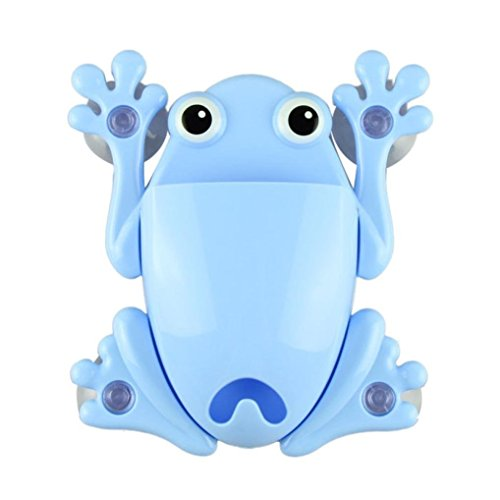 Toothbrush Holder, Robiear Cute Frog Toothbrush Makeup Tools Wall Stick Paste Organizer Holder Hook (Sky Blue)