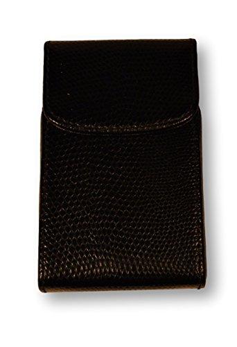 Budd Leather Company Lizard Calf Flip Up Business Card Case, Black (552220L-1) ()