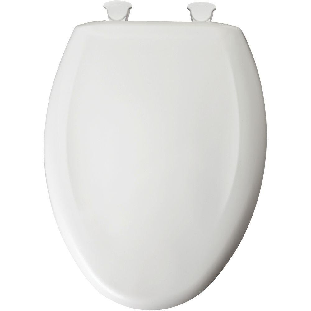 Bemis 1200SLOWT 000 Plastic Toilet Seat featuring WhisperClose and EasyClean & Change Hinges, Elongated, White