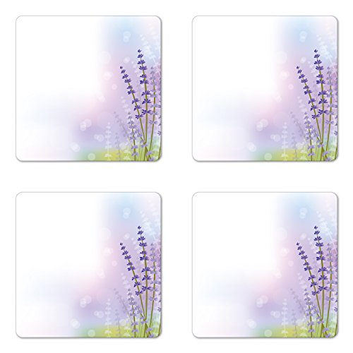 Lavender Coaster Set of Four by Lunarable, Nature Inspired Abstract Backdrop with Gentle Pastel Lavender Stems, Square Hardboard Gloss Coasters for Drinks, Violet Olive Green Lilac (Olive Green Violet)