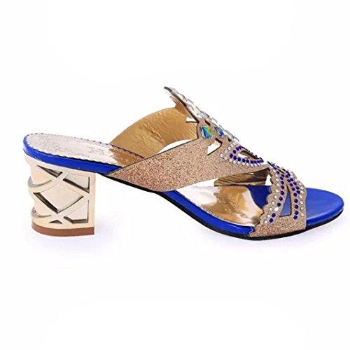 Alto OHQ Verano Sandalias Diamante Sandalias Zapatos Imitación Manera del de Nuevas del para de de Las la Mujeres de Grandes de Playa Tacón Sandalias Azul Señoras Mujeres YYqvr