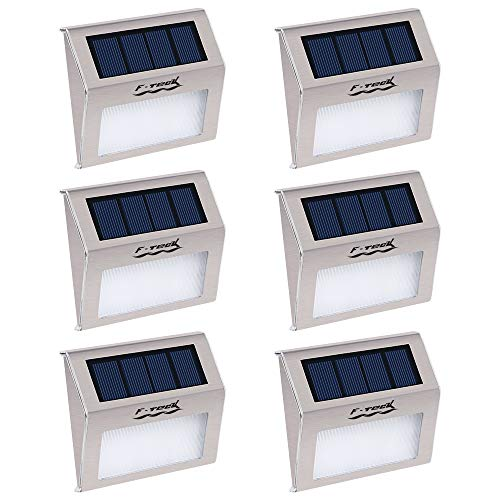 [Pack of 6] F-TECK Outdoor Stainless Steel LED Solar Step Light Wireless Super Bright Modern White Lamp for Deck, Staircase, Walkway, Patio, Garden, Yard, Patio