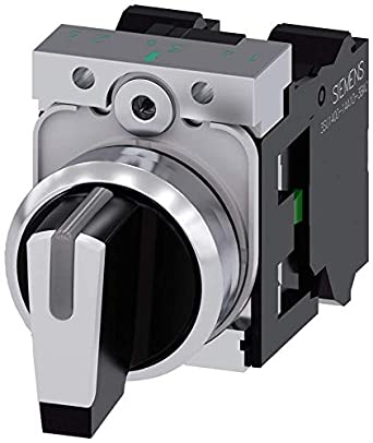 IP66 Siemens 3SU11502BL603NA0 Selector Switch Plastic /& Metal IP67 White Black IP69K Protection Rating Shiny Metal I-O-II 5to500volts 22mm