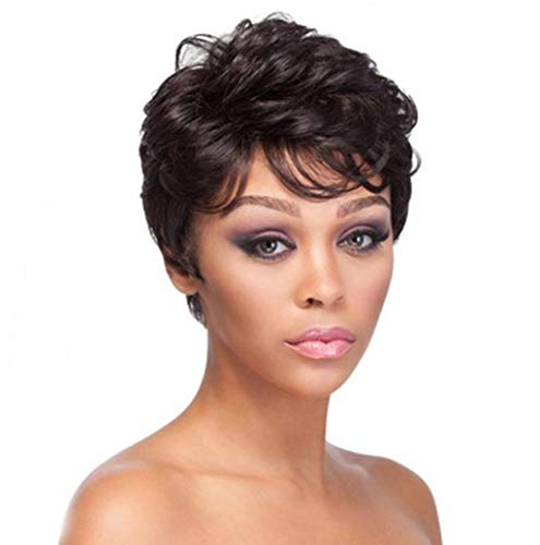 Women Fashion Wig, JHKUNO Cool Lady Natural Black Heat Resistant Fiber Fluffy Curly Wavy Hair Pixie Cut Wigs with Bangs for Black Women (4 Inches, Black)