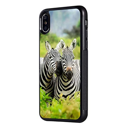 iPhone Xs Max Case,BOSLIVE Lover Zebras Grassland Background Design TPU Slim Anti-Scratch Protective Cover Case for iPhone Xs Max 6.5